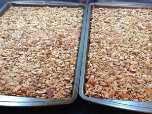 homemade granola on baking sheets