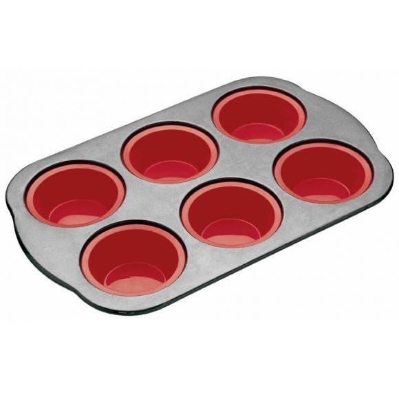 food-grade silicone and stainless steel muffin tin