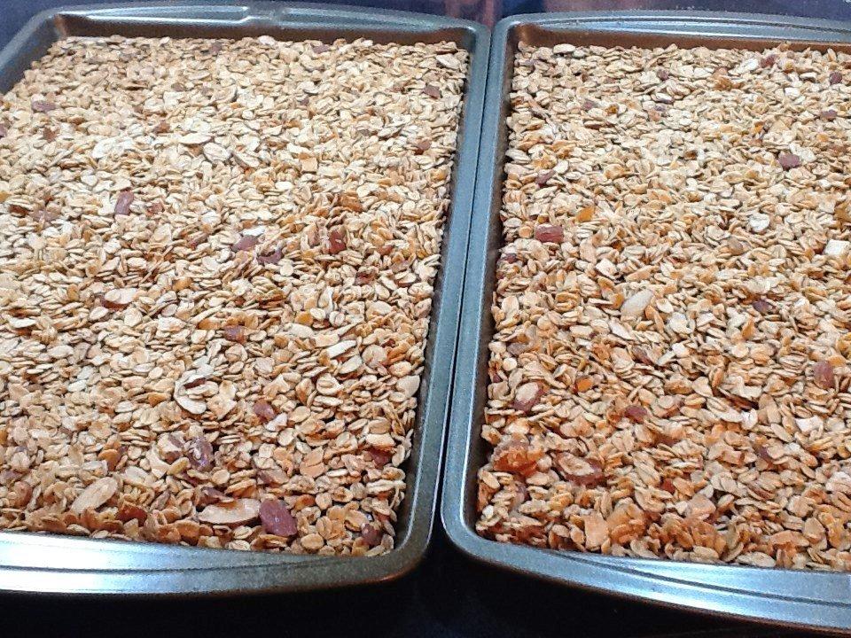 granola on baking sheets