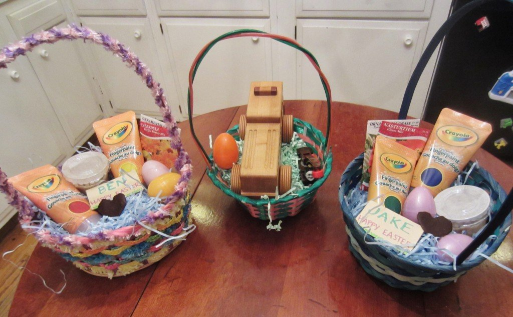 Easter baskets filled with homemade candy and non-traditional gifts.