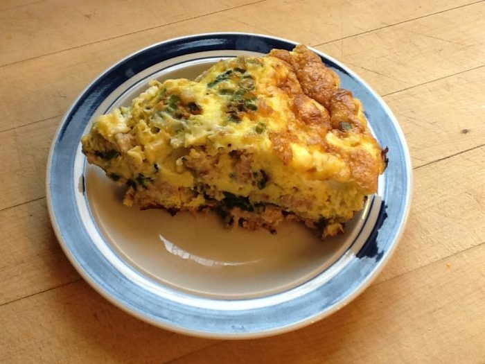 homemade spinach and sausage frittata with fresh eggs from our chickens