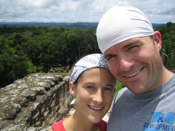 "A ""selfie"" from our honeymoon, high atop the Caracol Mayan ruins in Belize"