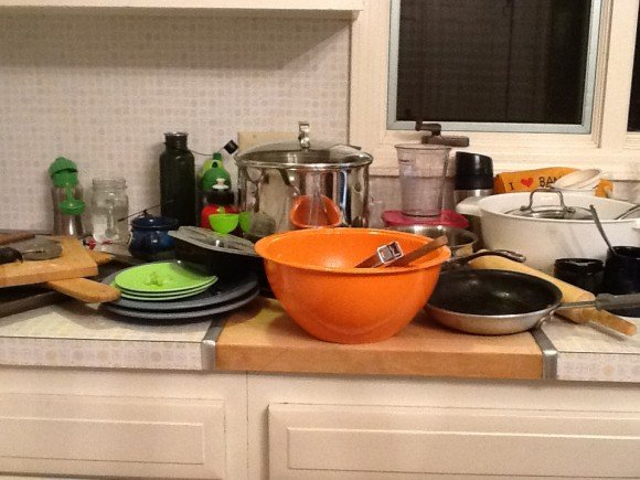 dirty dishes after a day of cooking from scratch