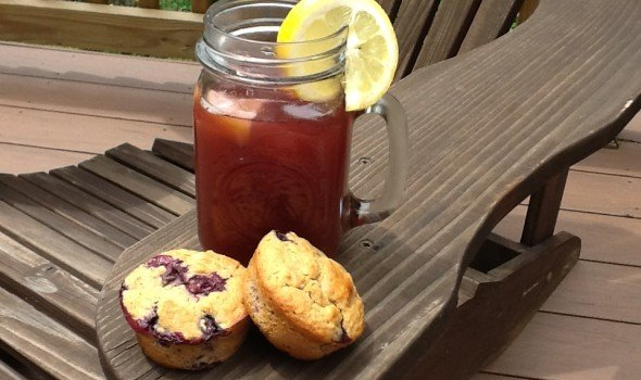 homemade blueberry muffins and blueberry iced tea