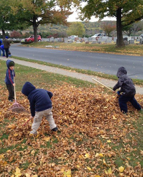 boys raking leaves into a huge pile