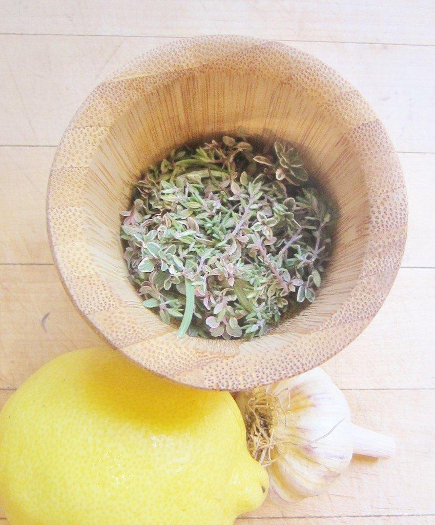 ingredients for grilled lemon-garlic rabbit marinade
