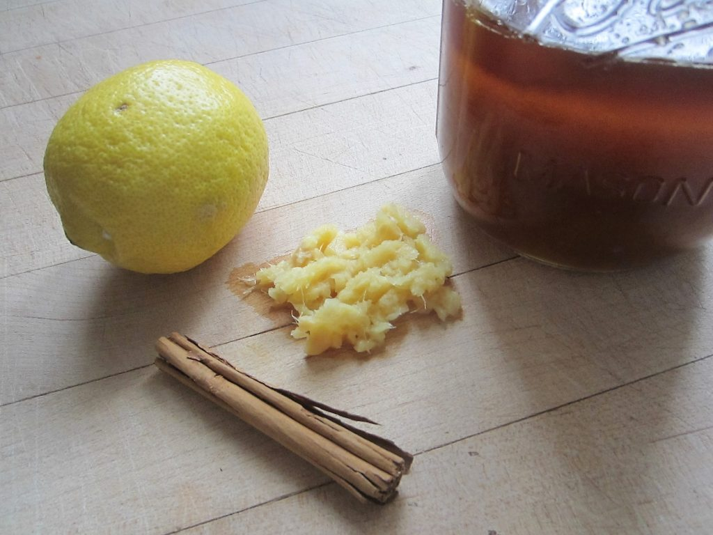 ingredients for homemade cinnamon ginger tea