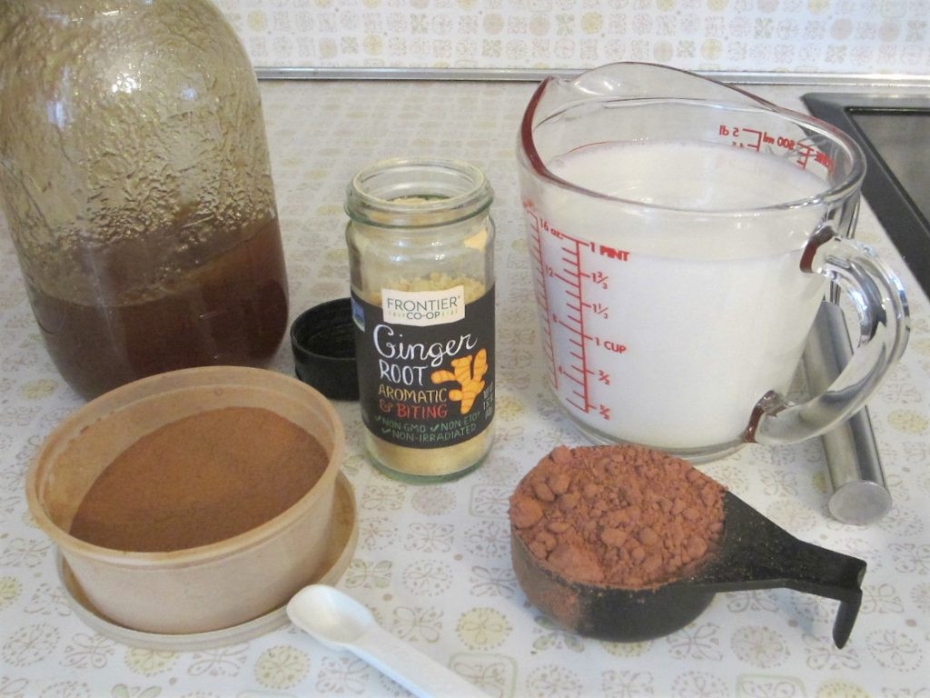 ingredients to make cinnamon ginger hot cocoa