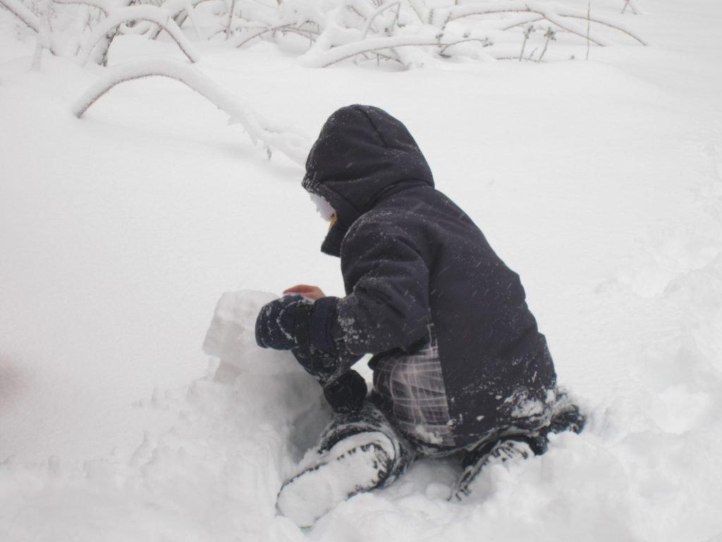 winter snow 09Feb2017 - building a snowman