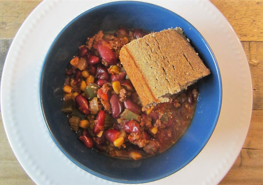homemade slow cooker chili with buckwheat cornbread