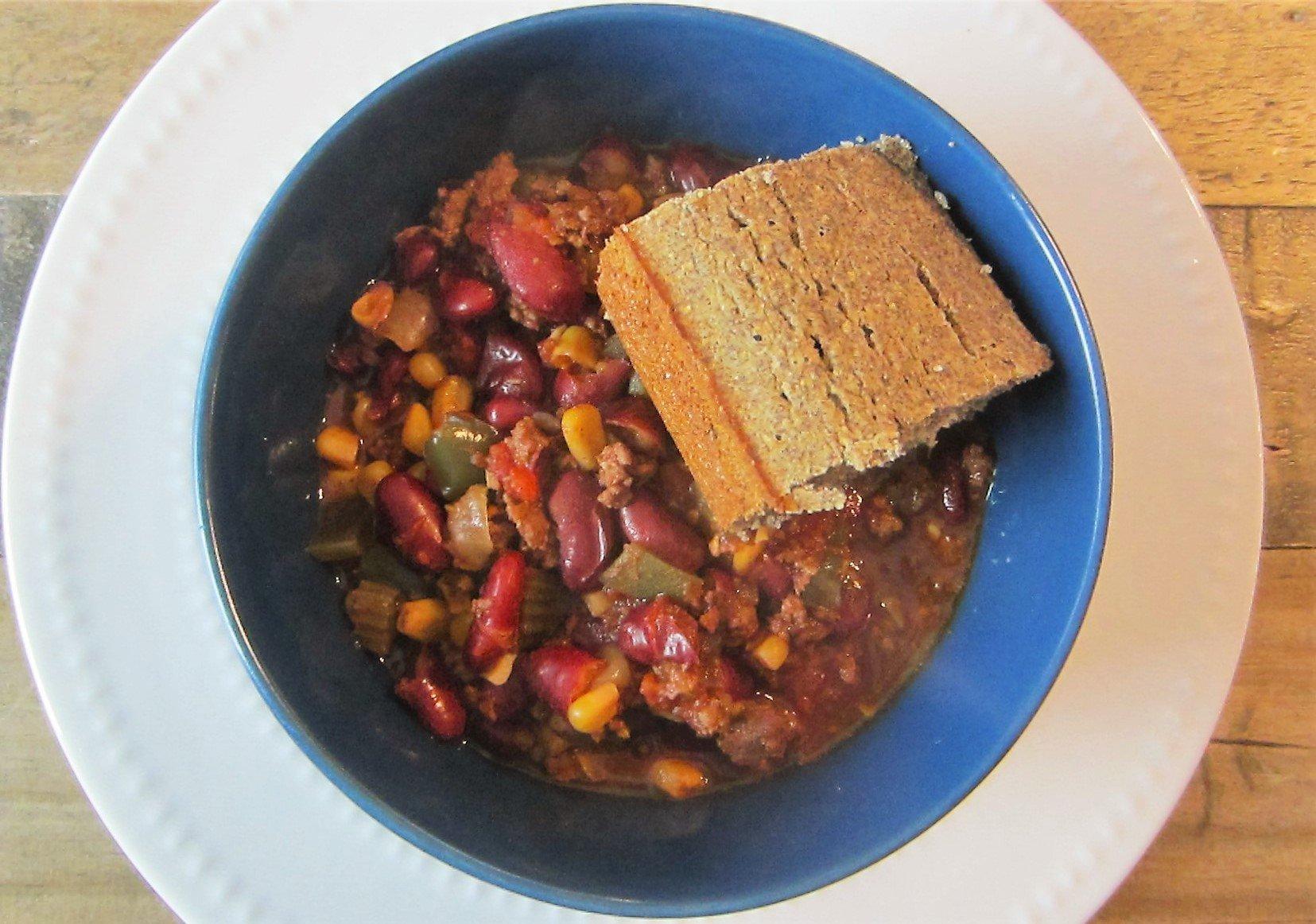 homemade slow cooker chili with buckwheat cornbread