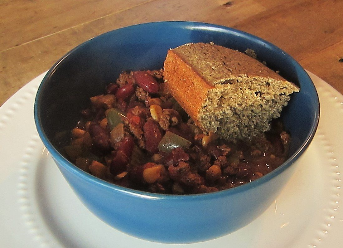 Slow Cooker Chili and Buckwheat Cornbread