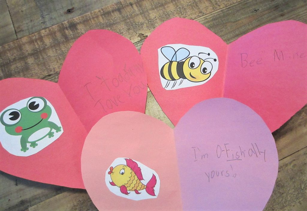 homemade Valentine's Day cards - toad, bee, fish