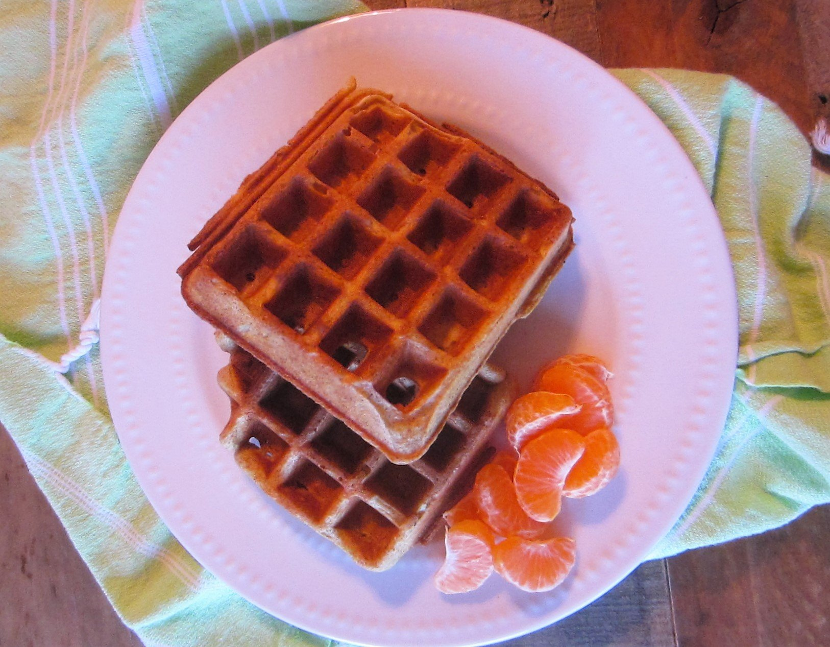 Overnight Waffles Served With Clementine Wedges