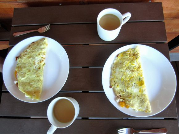 Healthy Eating on Vacation - homemade omelets and fresh coffee