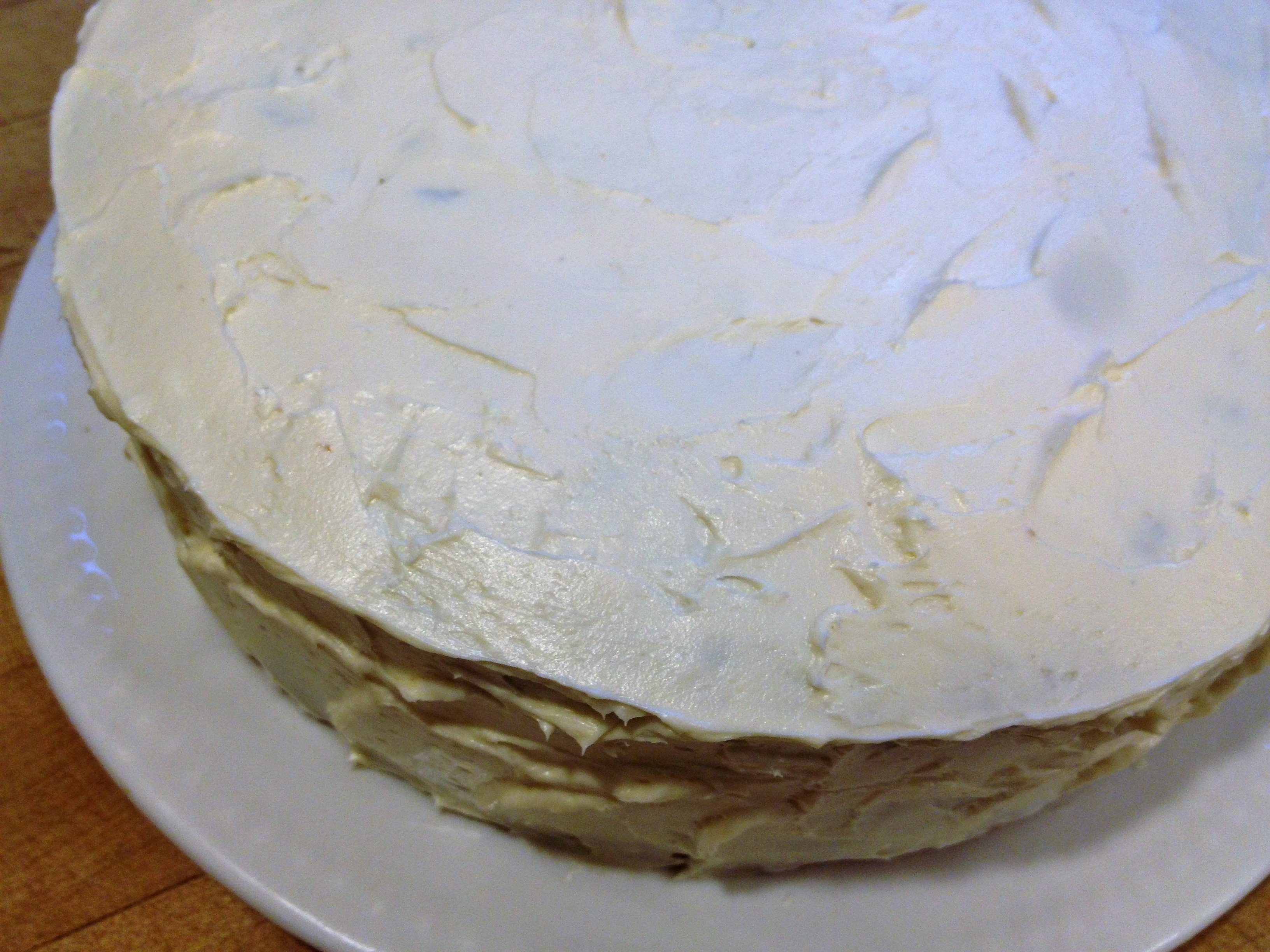 homemade carrot cake from scratch with maple cream cheese frosting