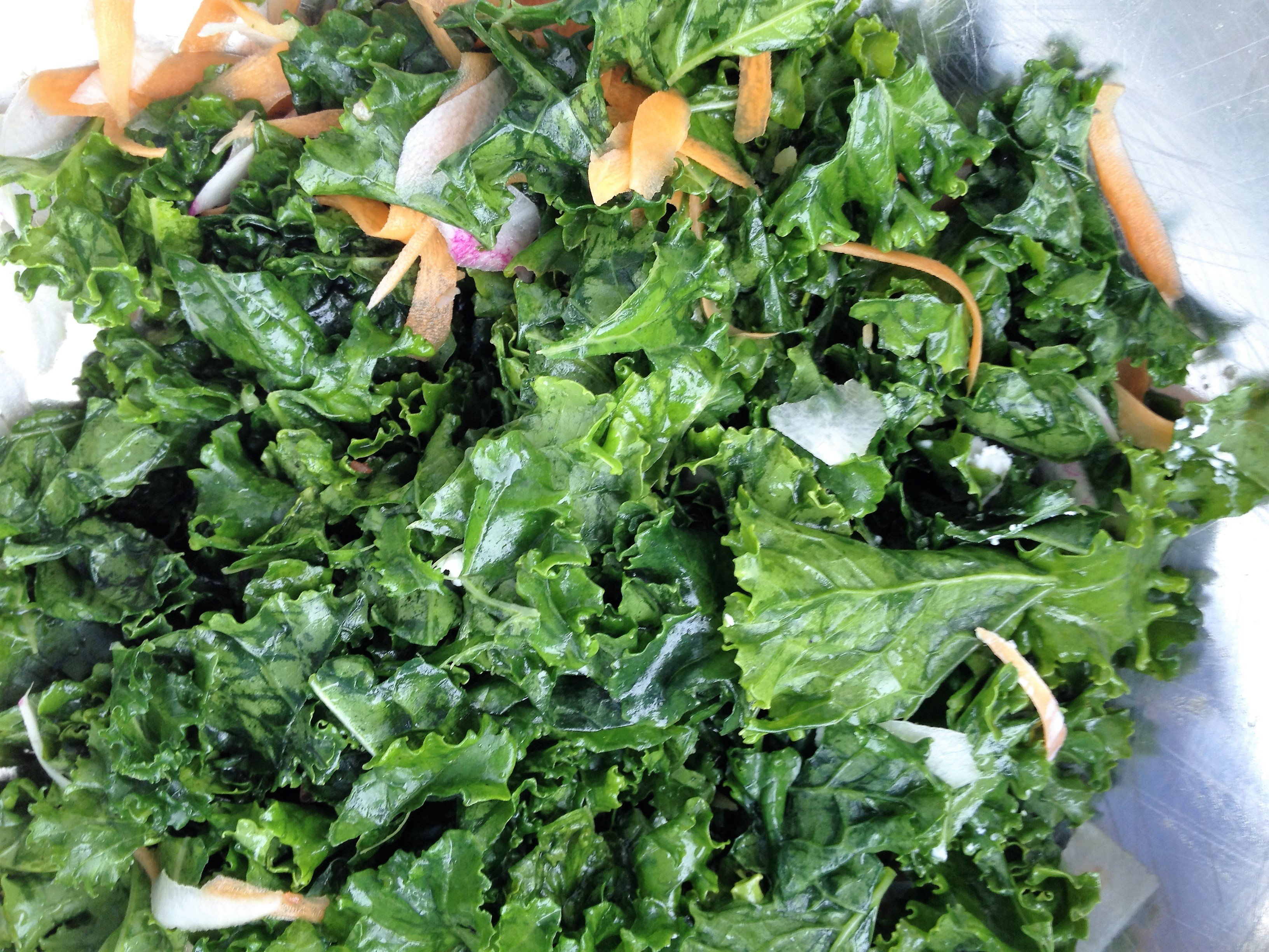 Massaged Kale Salad with Ginger Kombucha Vinaigrette