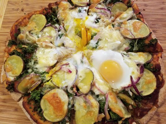 Homemade Potato, Kale, And Egg Pizza
