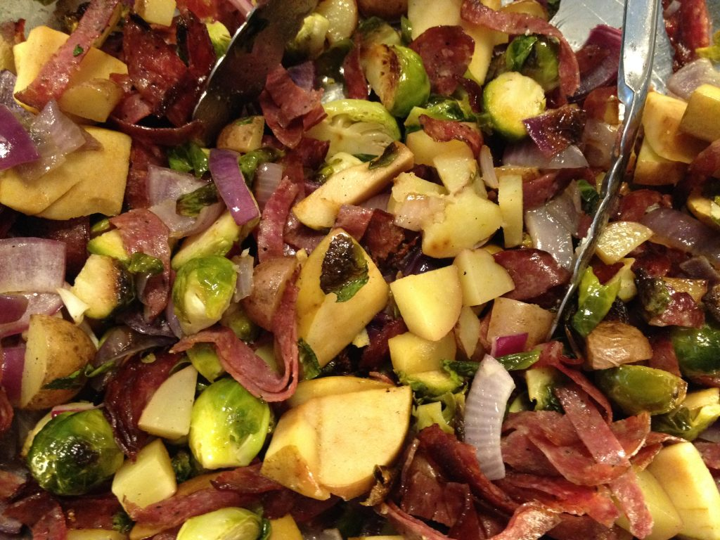 Roasted Brussels Sprouts, Apple and Salami