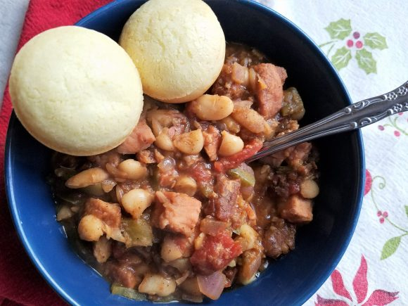 Ham and Bean Chili with Brazilian Cheese Rolls