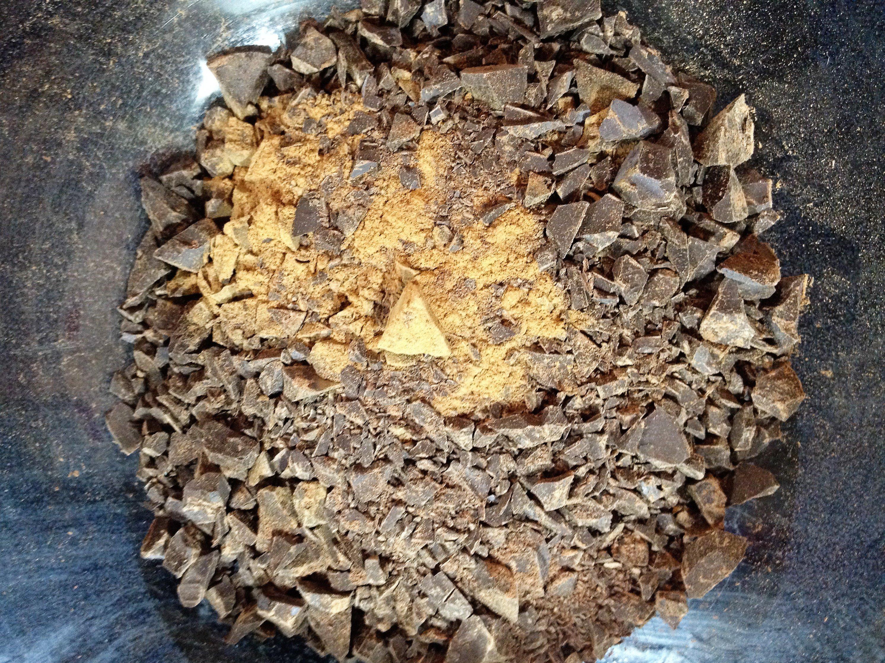 making Christmas Chocolate Bark – step 1