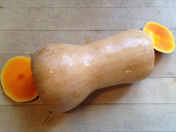how to peel and cube a butternut squash - step 1