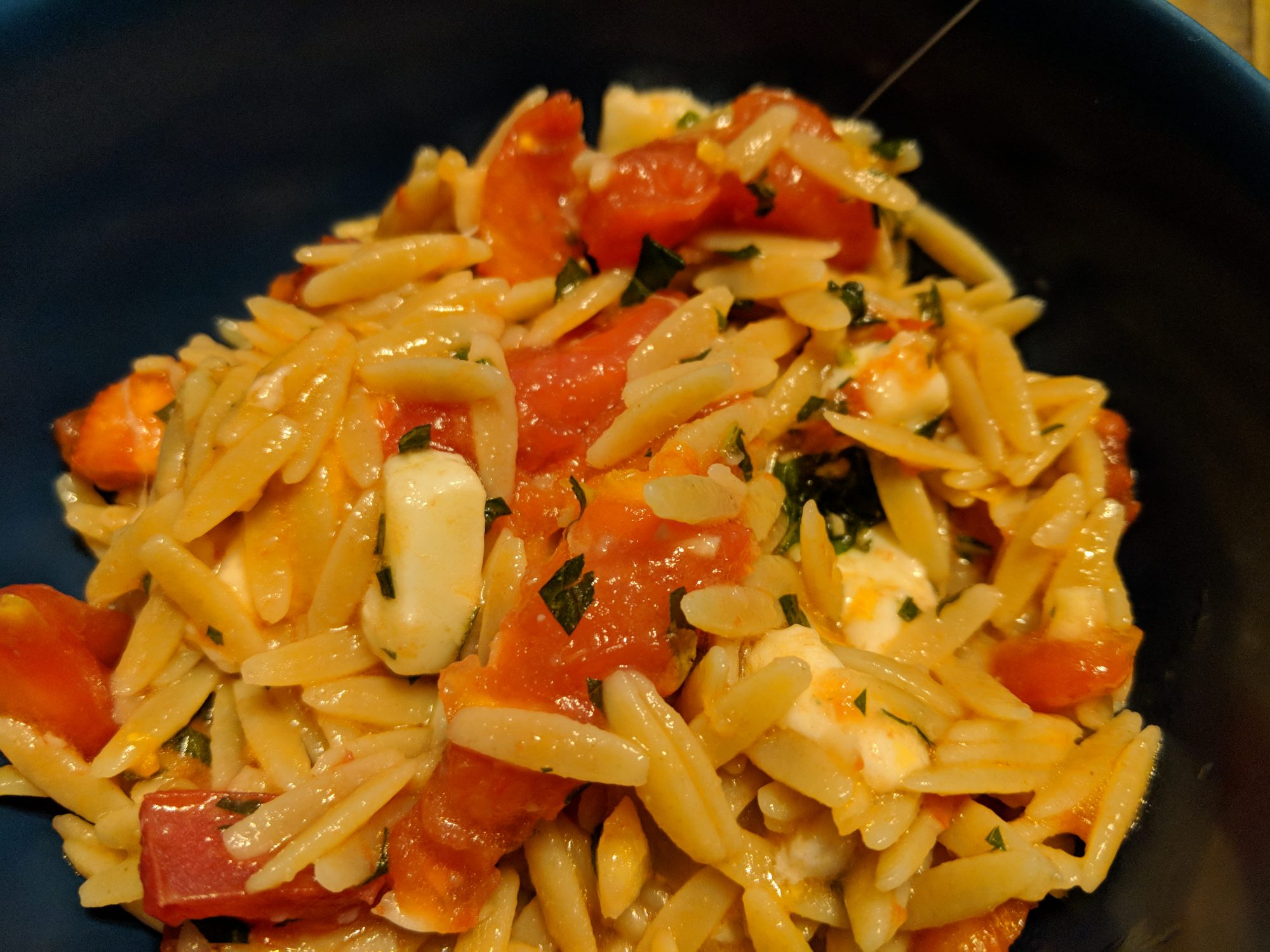 Orzo with Fresh Tomato and Mozzarella