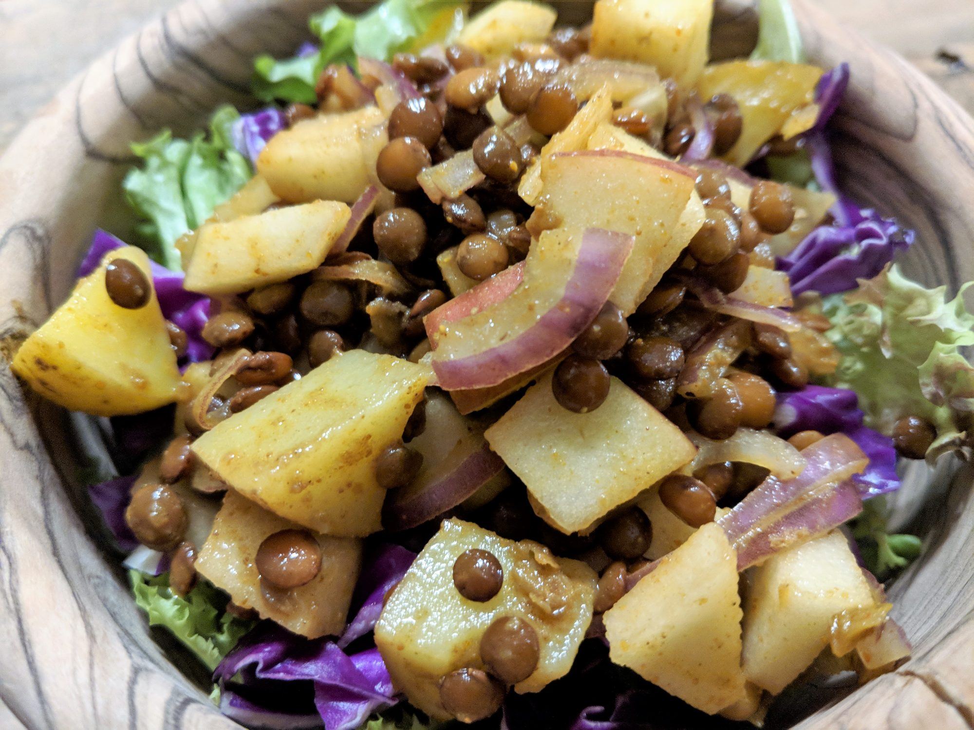 Curried Potato-Apple-Lentil Salad