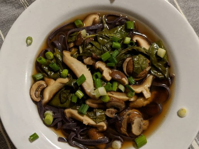Mushroom and Spinach Noodle Bowls