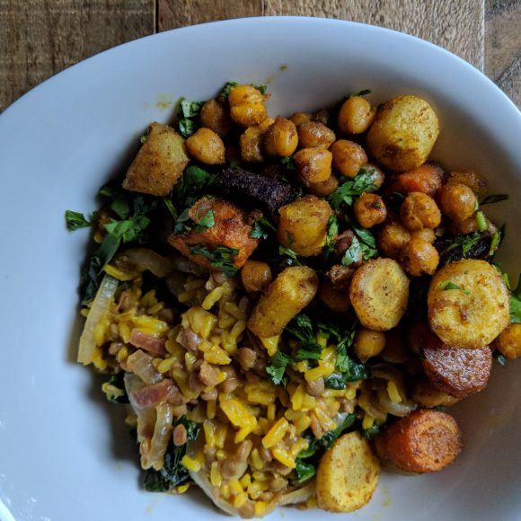 Warm Lentil And Rice Salad With Roasted Carrots And Chickpeas