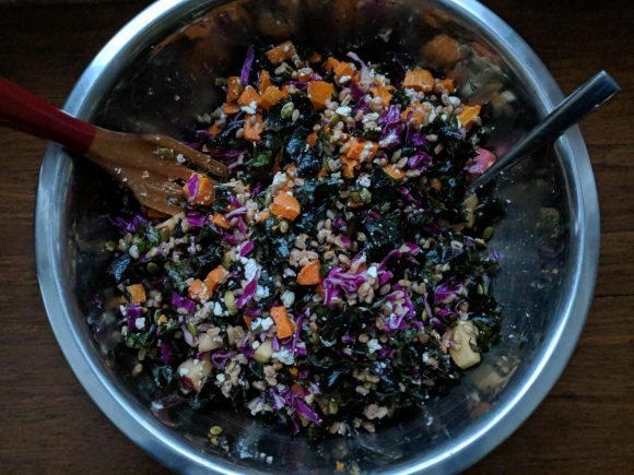 Winter Farro Salad With Sweet Potatoes, Apples And Greens